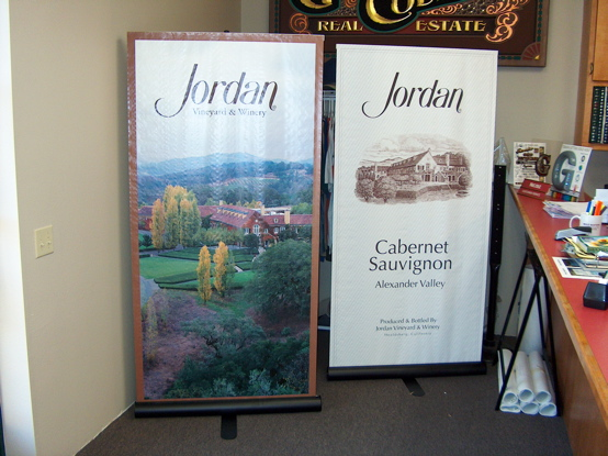 Jordan digital banners mounted on custom display 