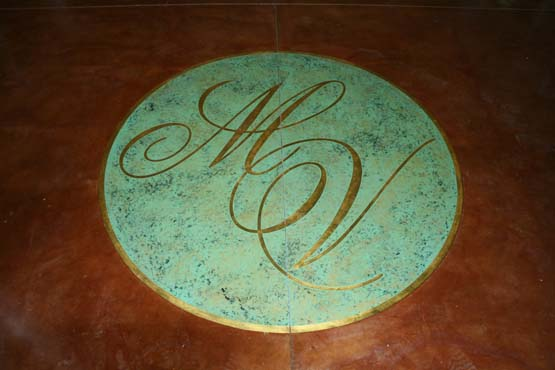 "Floor logo with faux finish ""copper look"" 23K gold leaf letters 