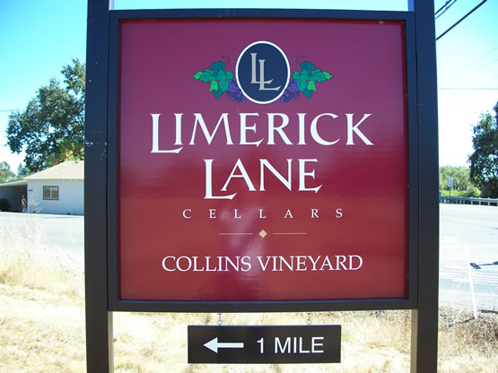 Limerick Lane is a MDO plywood sign with the logo & main copy in 1/2