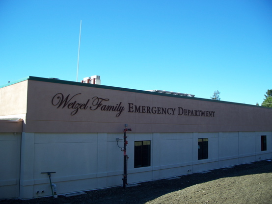 "1"" urathane letters mounted to a hospital wall here 