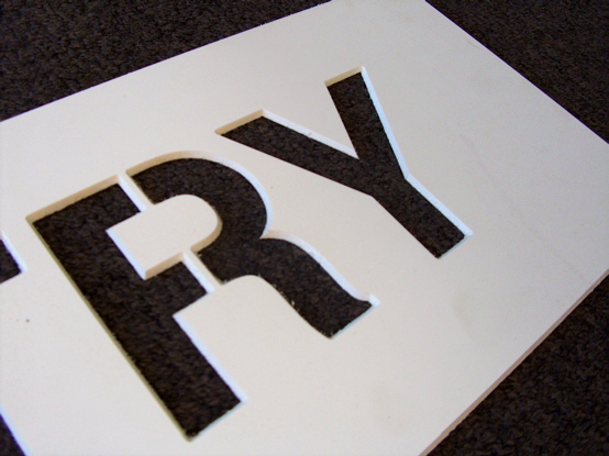 stencil made from 3mm pvc